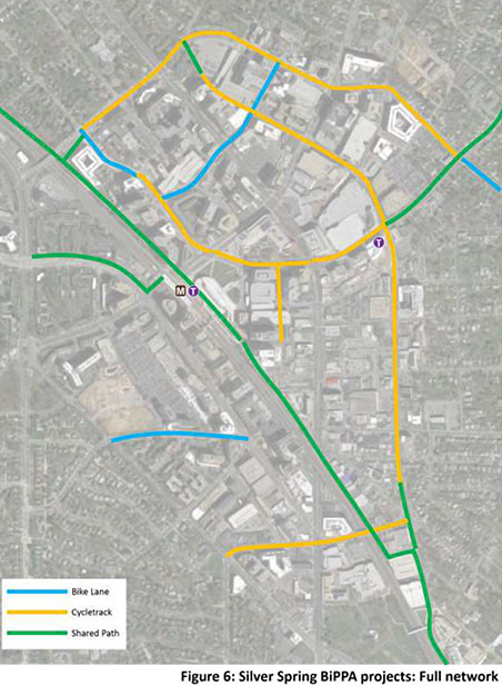 Map of Silver Spring Bike Network