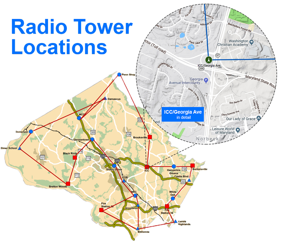 Map of the 22 public safety radio towers