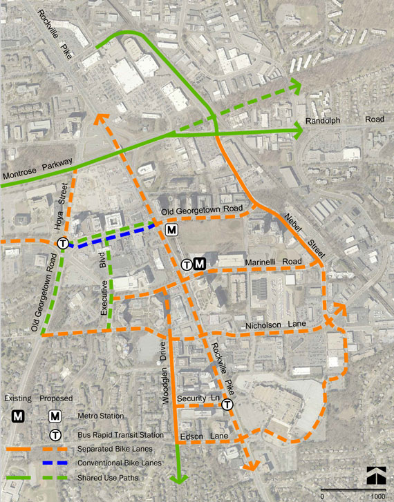 Map of White Flint Separated Bike Lane Network