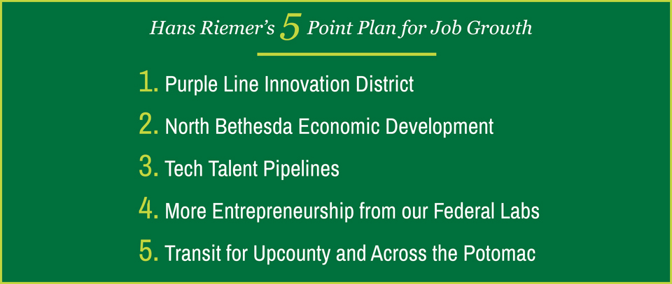 Hans Riemer's 5 point plan for job growth. 1. Purple Line Innovation District 2. North Bethesda economic development 3. Tech Talent Pipelines 4. More entrepreneurship from our federal labs 5. Transit for Upcounty and Across the River