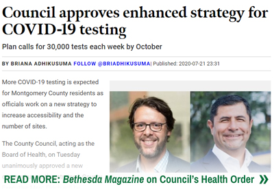 Bethesda Magazine Story on Council Health Order
