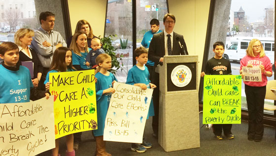 Hans Riemer speaks at a rally for child care